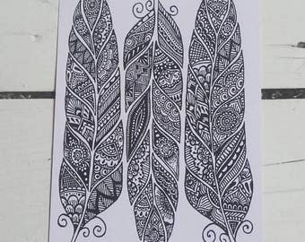 Feathers Postcard - Henna Mehndi Art - Feather Zentangle - Mandala