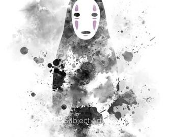 No Face, Spirited Away ART PRINT illustration, Studio Ghibli, Anime, Manga, Wall Art, Home Decor
