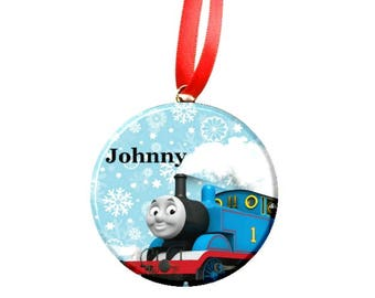 Personalized Holiday Thomas the Engine Tree Ornament