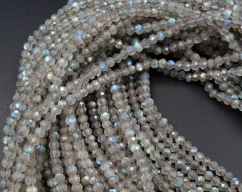 """Superior Flash AAA Quality Micro Faceted Tiny Natural Dark Labradorite Round Beads 3mm Faceted Round Beads 16"""" Strand"""