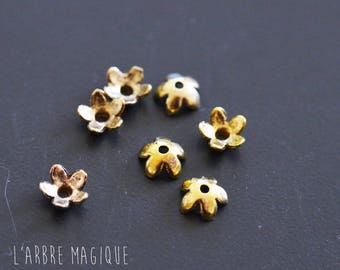 10 mini size gold tone 5 mm flower bead caps
