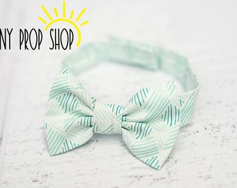 Green Patterned Bow Tie, Baby Bow Tie, Infant Bow Tie, Boy Bow Tie, Cake Smash Birthday, Prop, Photography Prop