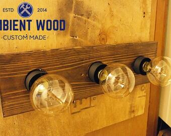 Industrial Bathroom Vanity Light Fixture Pine panel