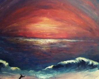 Twilight Beach Peace Print by JEB