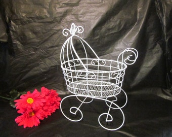 """12"""" Wire Baby Carriage Pram  - Great for Baby Shower Decorations"""