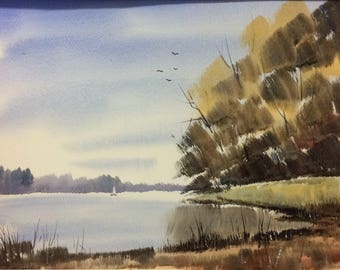 Original Landscape Watercolor - River Bank