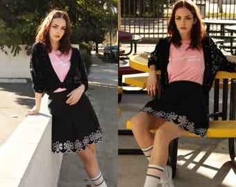 Vintage 1950s Black Sequin Sweater Cardigan Shrug size Small Medium Large