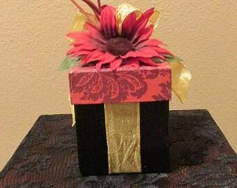 Brown Burgundy Mauve Gold Wedding Birthday Gift Box