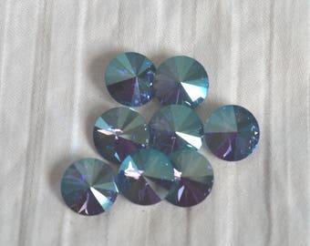 6 pieces 1122 Aquamarine SHIMMER (Aqua) 10mm (47ss) Swarovski Crystal Rivolis