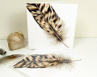 Owl Feather Luxury Greeting Card