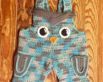 Crochet Owl Overalls and Matching Hat