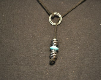 """Black Leather Lace Lariat Necklace with Silver and Turquoise Colored Beads and a """"Live The Life You Have Imagined"""" Silver Ring (18"""" long)"""