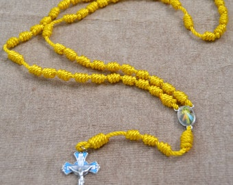 Divine Mercy Yellow Regular Rope Rosary with Blue Metal Cross and Pendent