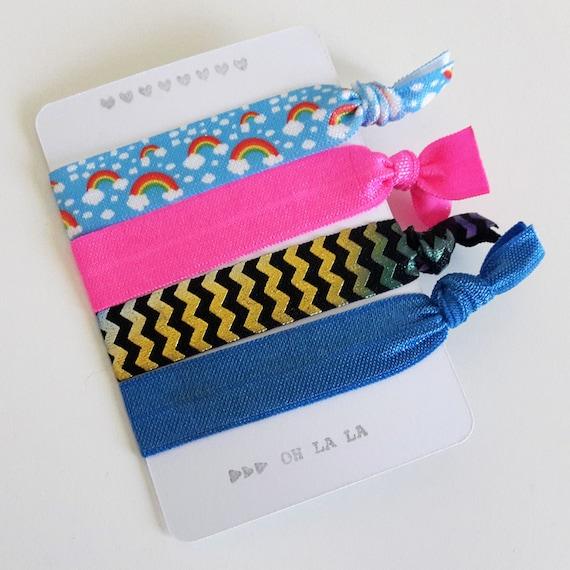 Set of 4 hair ties - elastics - no crease - stretch bracelets - rainbows - neon pink - chevrons - blue - party favor - favor gift - dK14