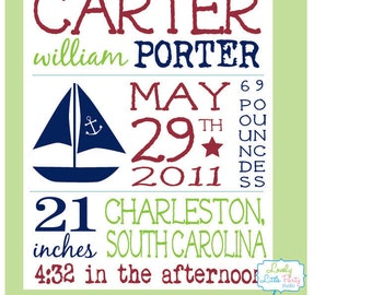 """Customized Birth Announcement Sail Boat Theme Nursery Print - 8""""x10"""" - LOVELY LITTLE PARTY"""