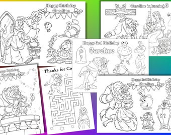 Beauty and the Beast Birthday Party coloring pages, Personalized, PDF file