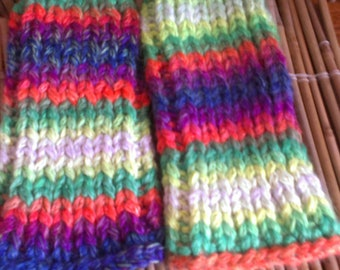 Chunky knit ankle warmers, multi coloured