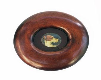 Framed Antique Enamel Of A Greyhound Head