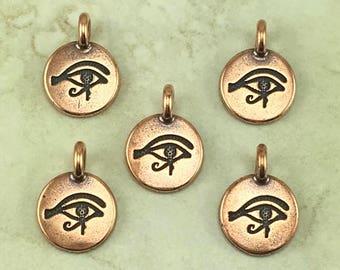 Eye of Horus Round Stamp charm > Pyramid Ra Egyptian Egypt Symbol Sun God - Copper Plated Lead Free pewter I ship Internationally 2503