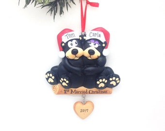 2 Black Bears Ornament / Personalized Christmas Ornament / Bear Couple / Christmas Ornament