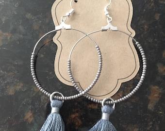Dark gunmetal gray tassel hoop earrings with gunmetal gray beads