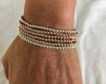 stackable gold filled bead bracelets