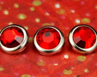 10 light Siam cristal cheveux boutons pressions - rond bord d'argent édition--faite avec des strass Swarovski Element