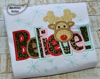 Believe reindeer applique