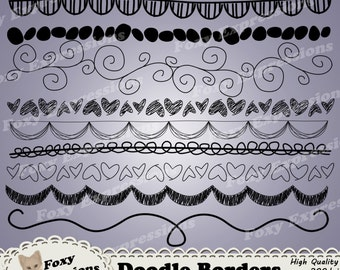 Doodle Borders digital clipart is a fun way to add a personal touch. Designs include swirls, hearts, dots, drapes, zigzags, stripes & more