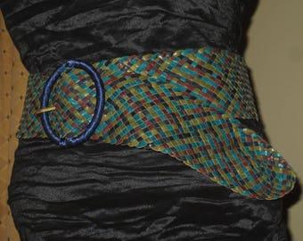 Woman's Vintage Wide Weaved Multi Color Leather Belt,
