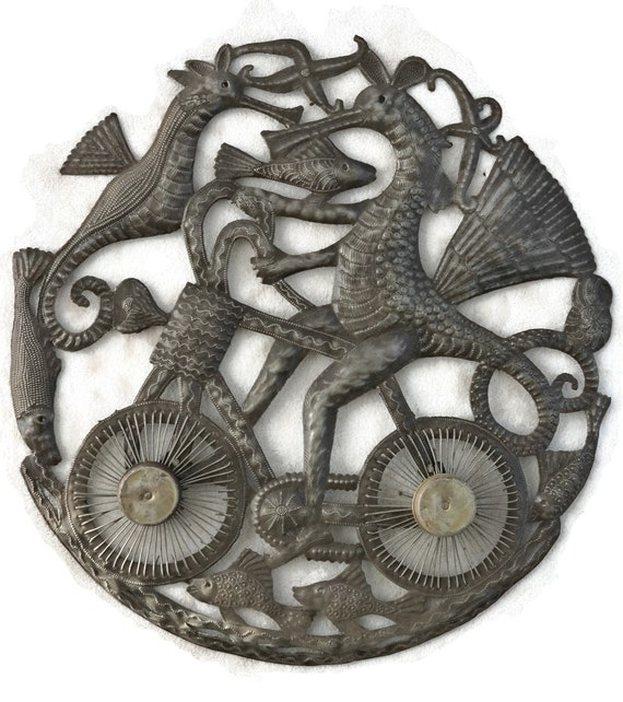 Seahorse On Bike, Quality Handmade Steel Sculpture, One-Of-A-Kind Metal Art 24 x 23.5