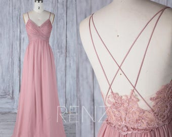 Bridesmaid Dress Dusty Rose V Neck Wedding Dress,Spaghetti Straps Long Prom Dress,Illusion Lace Low Back Evening Dress Full Length(H497)