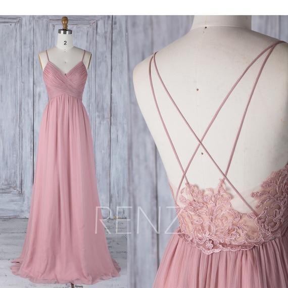 Spaghetti-Träger lange Abendkleider Brautjungfer Kleid