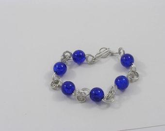 Wire & Glass Bracelet (Blue)