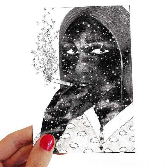 La parisienne. Postcard drawing // mini size art // black and white art // dot work// figurative art // woman portrait // surreal art