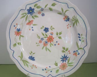 French Country Ironstone Serving Platter, Large, Blue, Green, Orange on White Platter, Wall Decor, Replacement