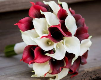 Calla lily wedding bouquet, burgundy and ivory bridal bouquet, real touch calla lilies, dark red and cream wedding bouquets, fall wedding