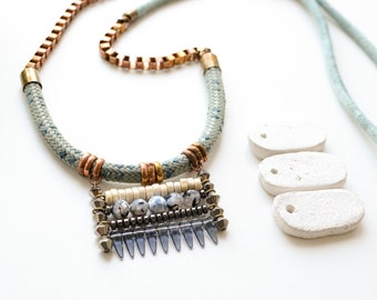 Boho Necklace, Rope Necklace, Tribal Bib Necklace, Statement Necklace, Blue Necklace, Long Necklace, OOAK Necklace, Hippie Necklace