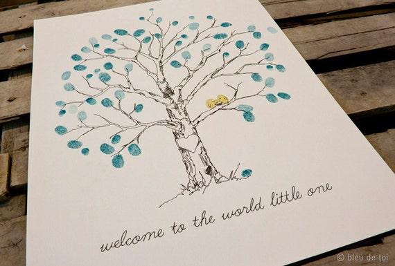 Baby Shower Ideas Guest Book ~ Guest book ideas fingerprint tree unique baby shower