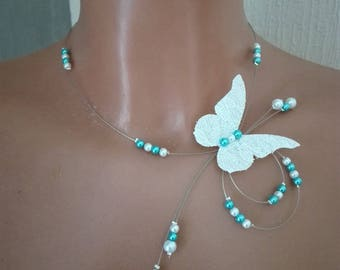 set 5 pieces white / turquoise Butterfly linen and lace wedding evening ceremony bride