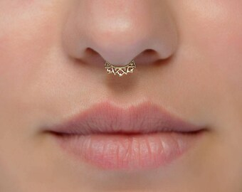 Tiny septum ring. 20g septum ring. gold plated septum. gold septum ring. tribal septum ring. septum hoop. 20g nose ring