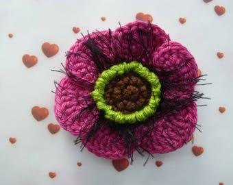 Fuchsia pink poppy crocheted in cotton