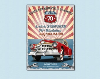Celebrate a Classic 70th Birthday Car themed Suprise Party Invitation - printable