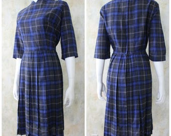 Vintage 50s Wool Plaid SPECTOR SHANLER Pleated Fit & Flare Dress L XL
