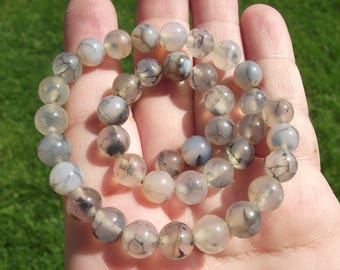 5 BEADS DRAGON VEINS AGATE MULTICOLOR 8 MM.