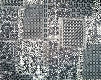 REMNANT--Black and Ivory Woodblock Style Print Stretch Cotton Sateen Fabric--1.5 YardS