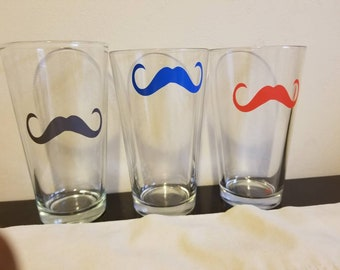 Mustache Glass Cups