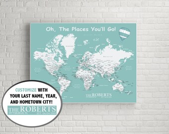 Personalized World Push Pin Map (Print Only) , Travel Map, Map Poster, Travel Board, Wedding - Anniversary Gift  #World-011