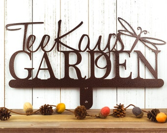 Garden Sign   Custom Name Sign   Outdoor Sign   Name Sign   Garden Decor   Personalized Sign   Metal Sign   Sign   Dragonfly
