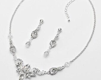 Crystal Wedding Jewelry Set, Rhinestone Jewelry Set, Bridal Jewelry Set, Wedding Accessories, Silver Jewelry Set, Crystal Drop Set ~JS-1658
